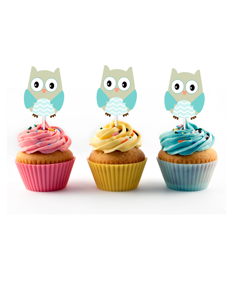 Blue Owl Cupcake Toppers for Baby Shower