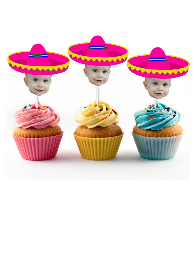 Pink Sombrero Cupcake Toppers