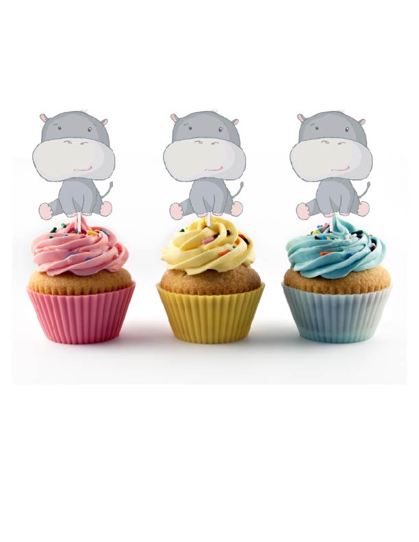 Beautiful hippo cupcake toppers for birthday party or baby shower