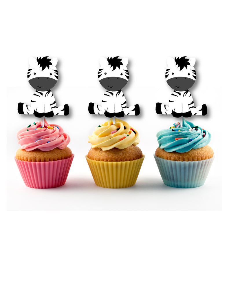 Zebra cupcake toppers for jungle party
