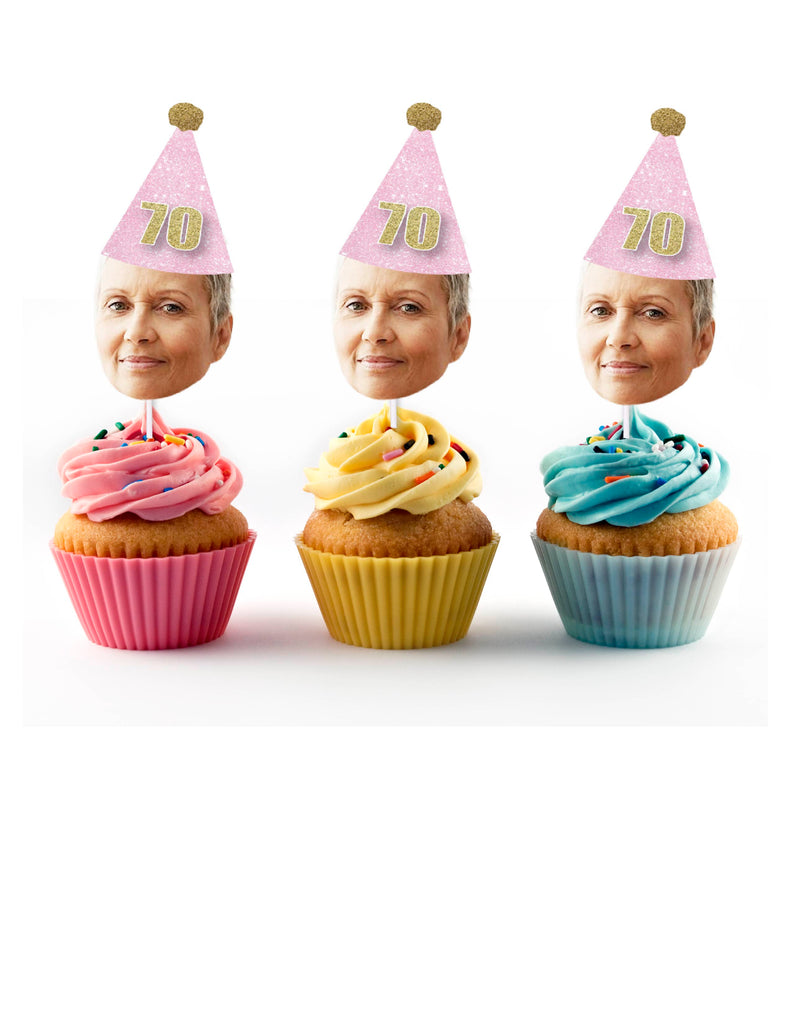 70th birthday cupcake toppers with birthday hat and face