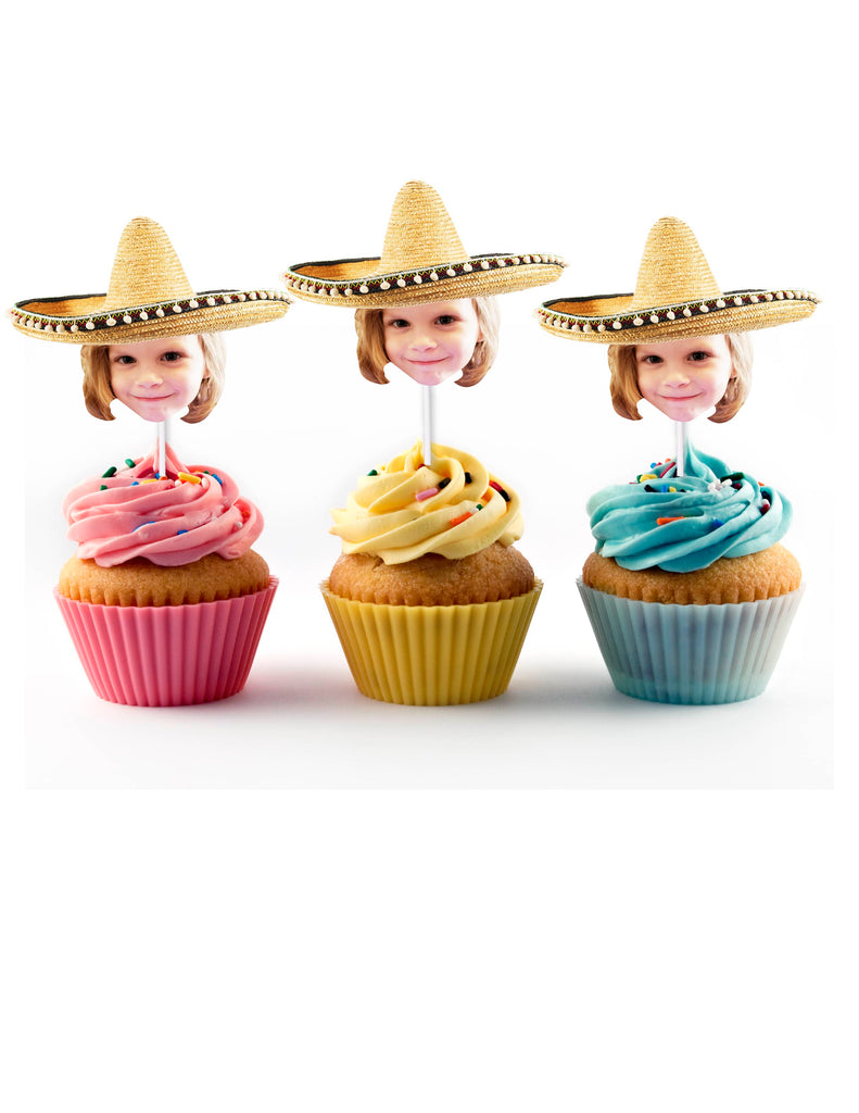 Fiesta cupcake toppers personalized with face