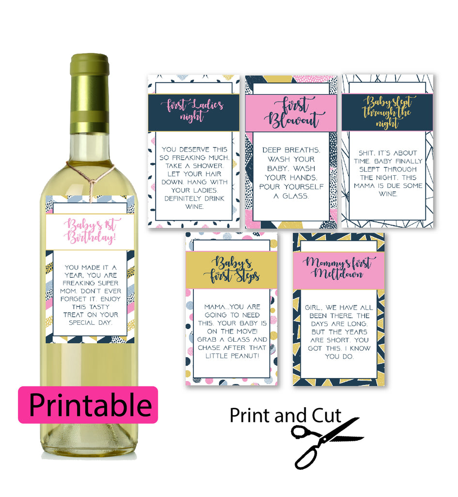 Printable New Mom Wine Labels for Baby Shower