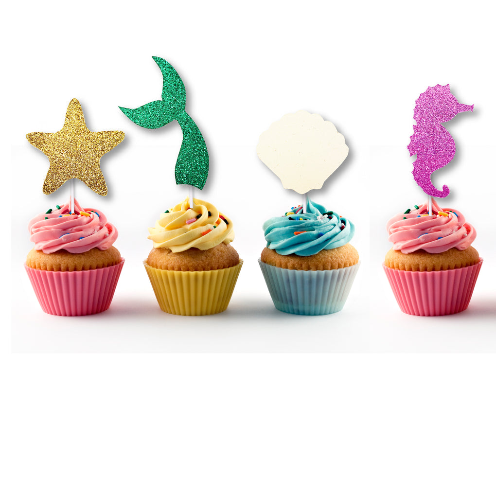 Glitter Mermaid Cupcake Toppers (12 count)
