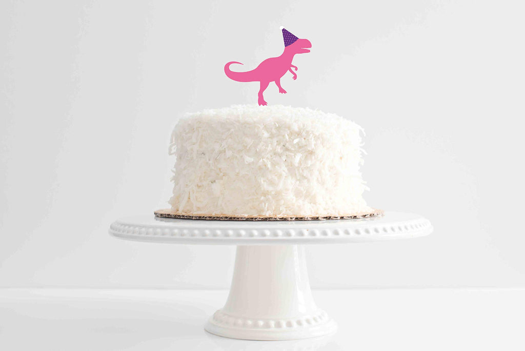 Girly Dinosaur Acrylic Cake Topper