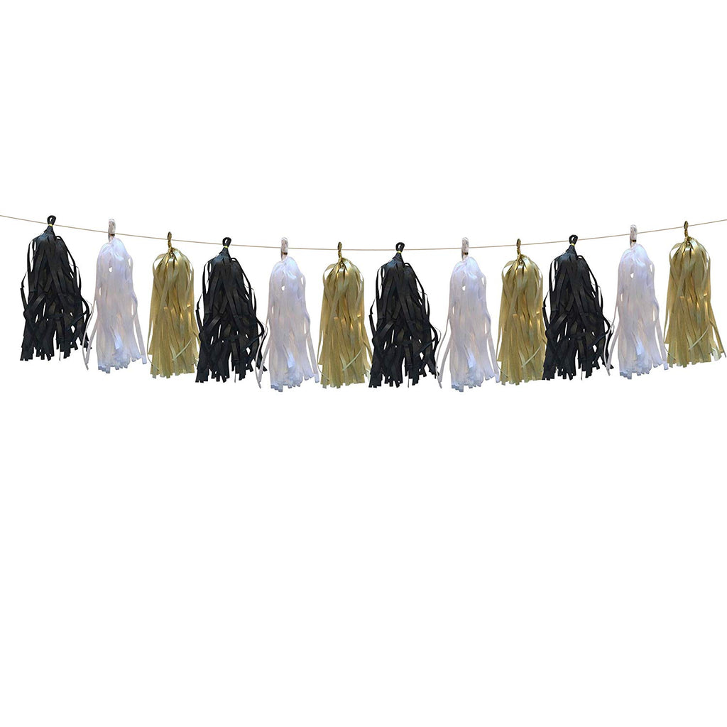 Black, White and Gold tissue tassel banner