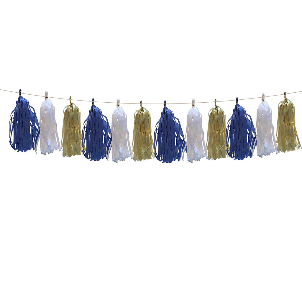 Navy, Gold and White tissue tassel banner