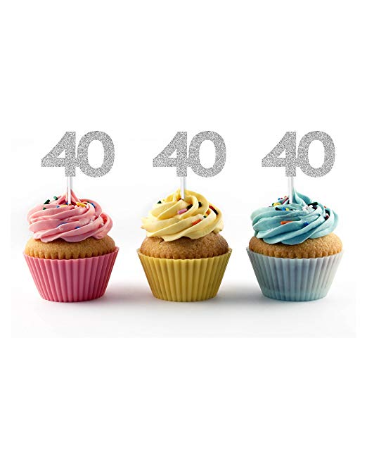 40th birthday cupcake toppers in silver glitter