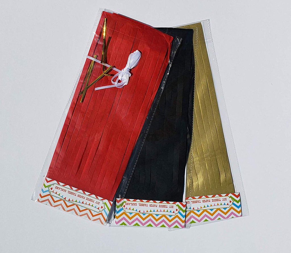 Red, Gold and Black tissue tassels