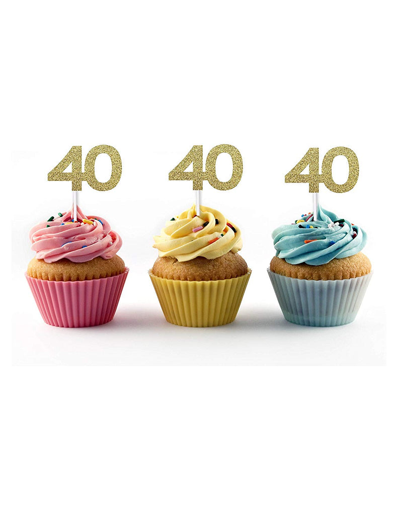 40th birthday cupcake toppers in gold glitter