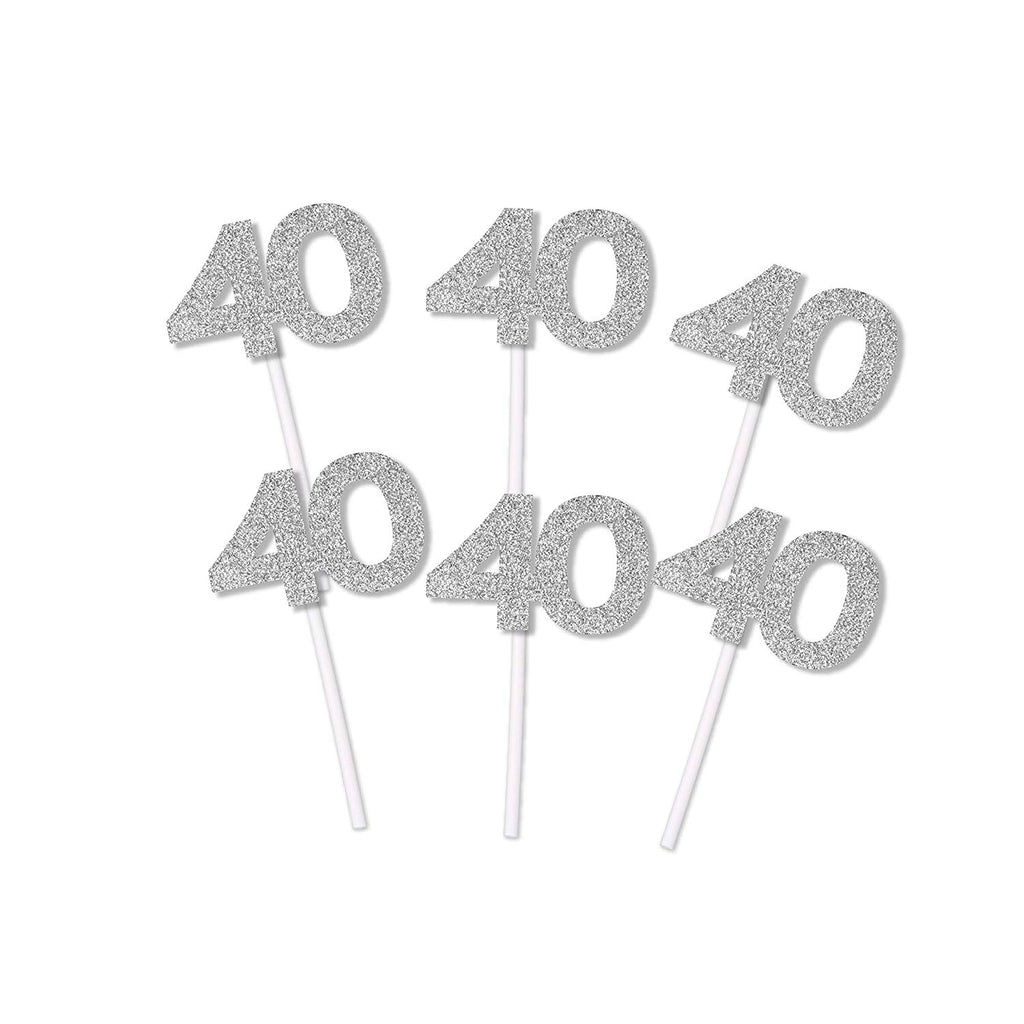 40th Birthday or Anniversary Glitter Cupcake Toppers (12 count)
