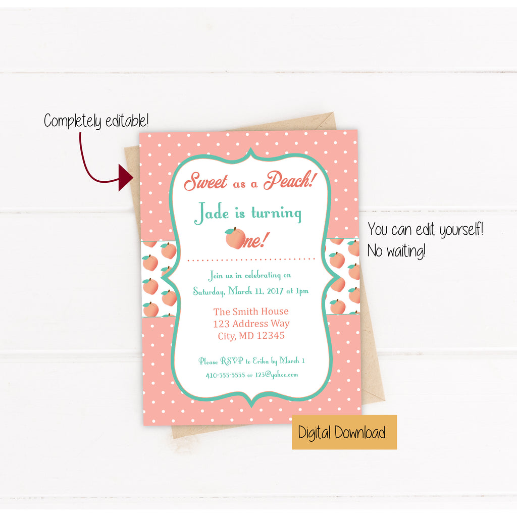 Sweet as a Peach Invitation (Digital) - DIY