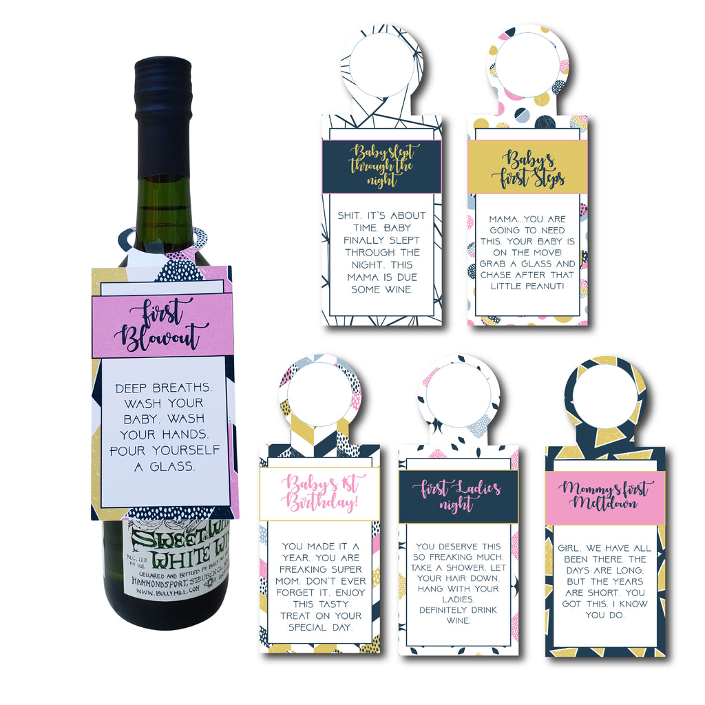 New Mom Wine Gift Tags