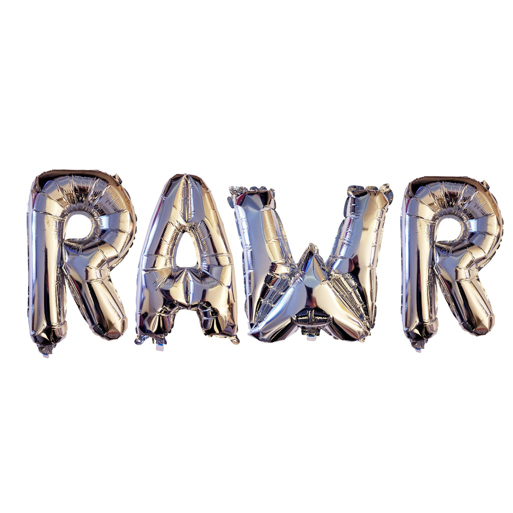 Silver foil RAWR balloons for dinosaur party