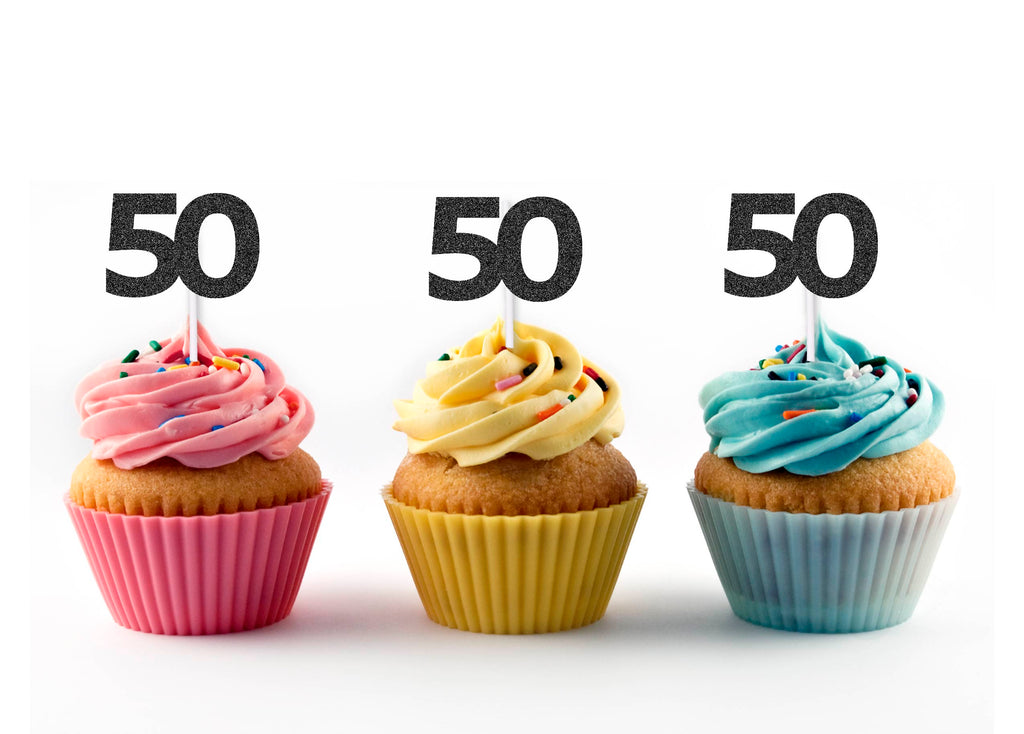 50th Birthday Glitter Cupcake Toppers (12 count)
