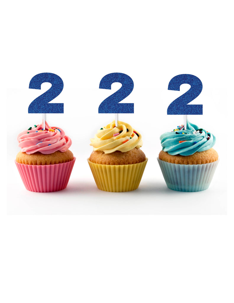Blue glitter second birthday cupcake toppers
