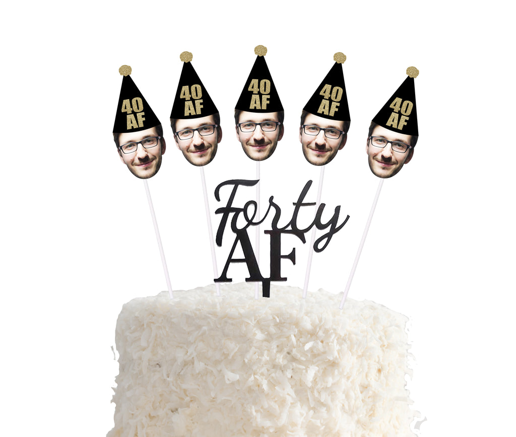 Forty AF cake topper with face