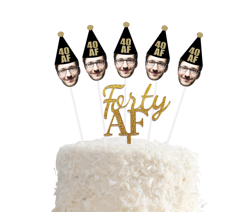Forty Af custom face cake topper