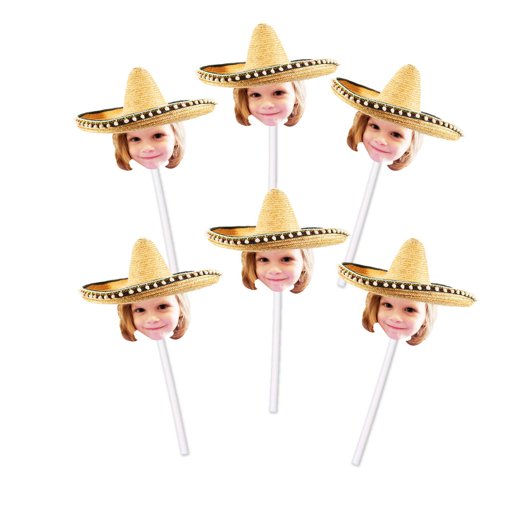 Sombrero cupcake toppers with face