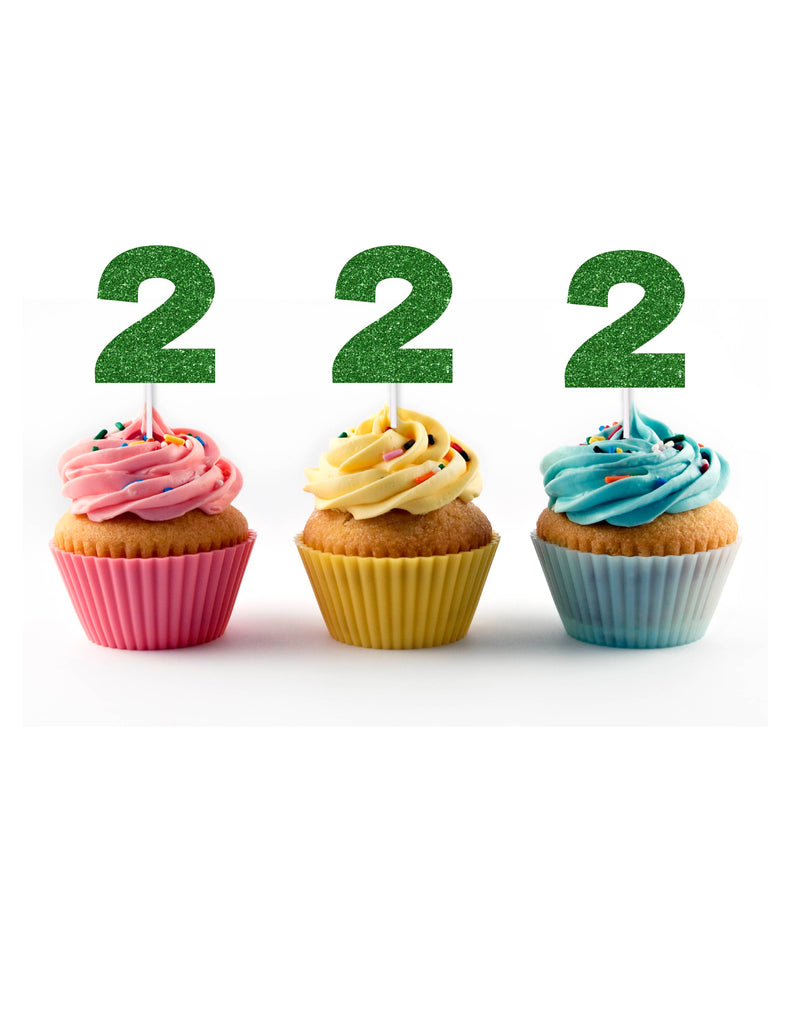 Green Glitter Cupcake Toppers with the number 2