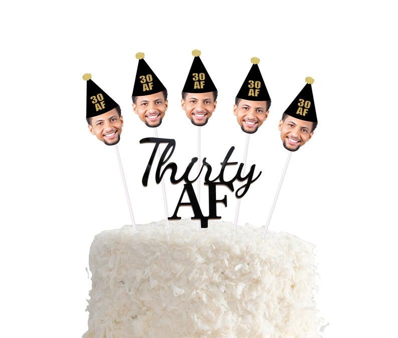 Thirty AF black face cake topper