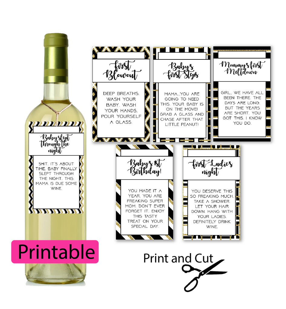 New mom Wine tags - printable in black and gold