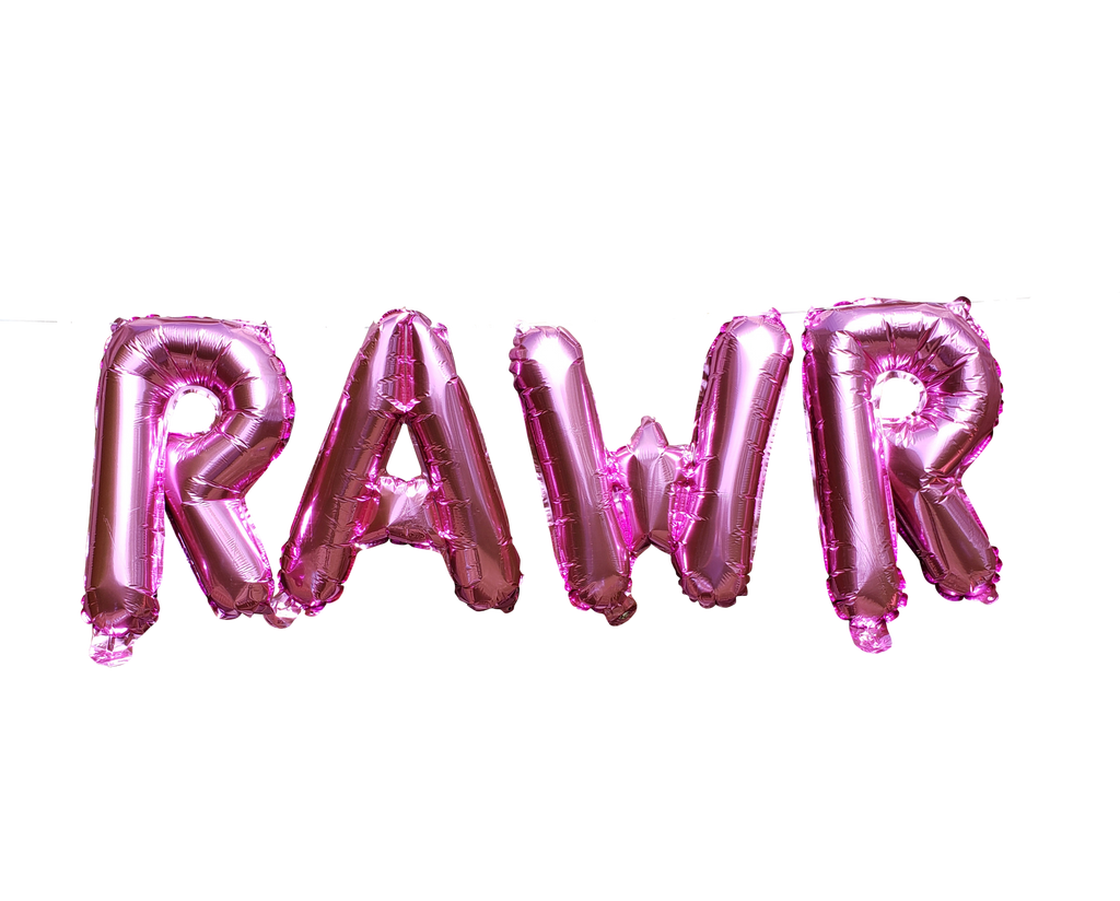 Pink Foil RAWR balloons for girly dinosaur party