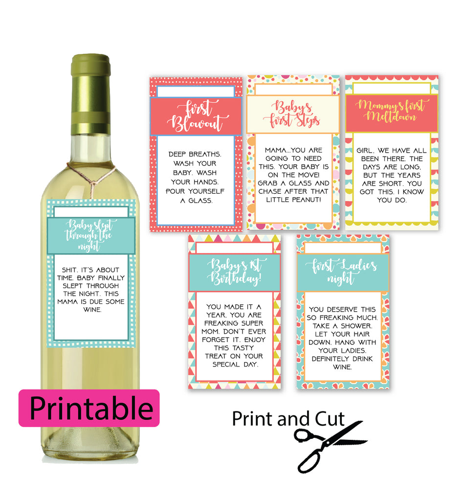 Baby's First Wine tags and labels for new mom