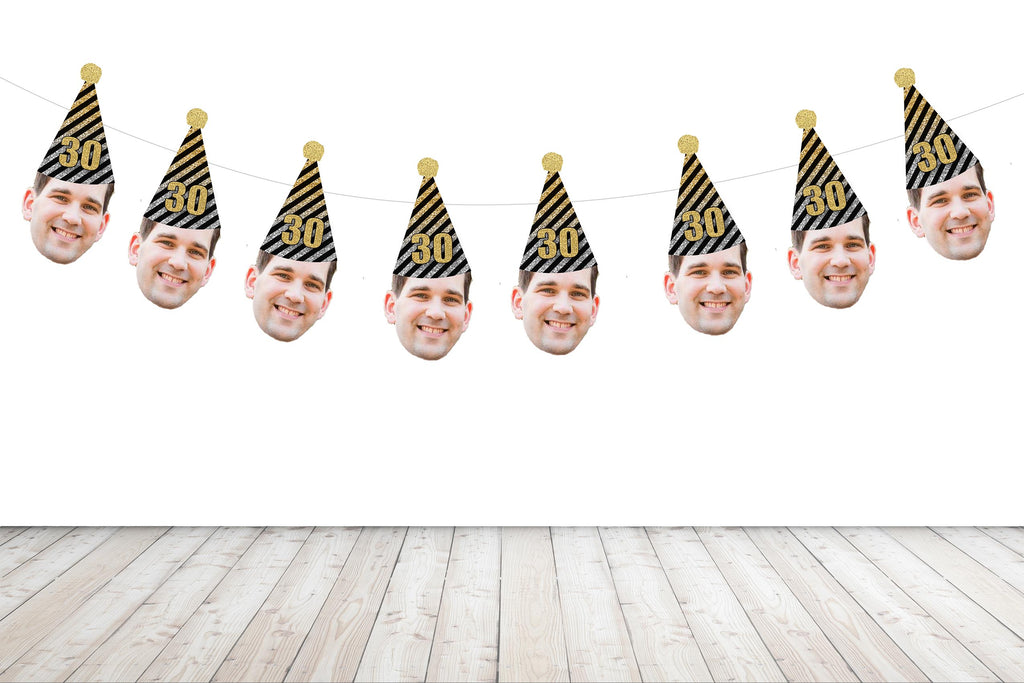 Birthday Face Banner with Black, Gold and Silver Hat