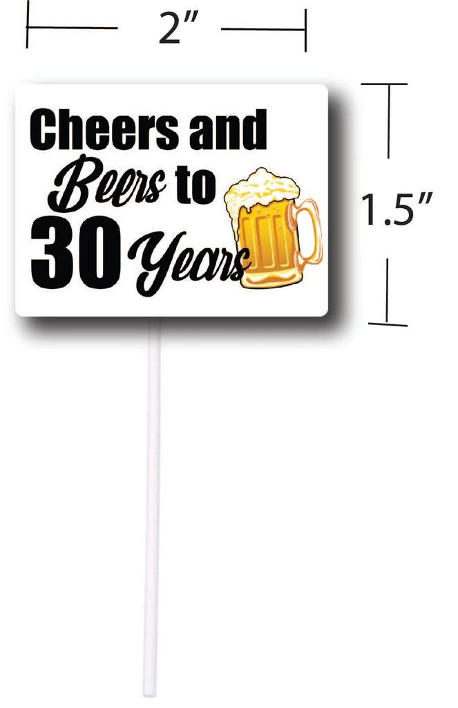 Cheers and Beers to 30 Years Cupcake Toppers (12 count)