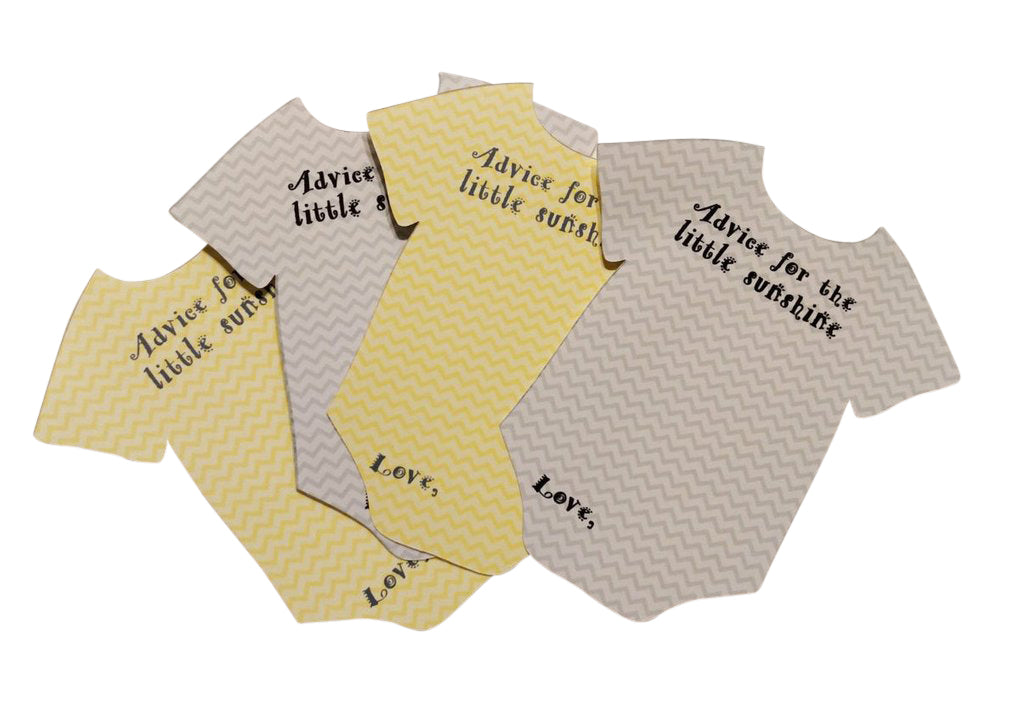 yellow and gray bodysuit advice cards