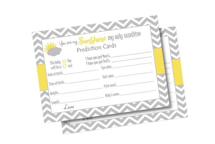 You are my sunshine mom to be prediction cards