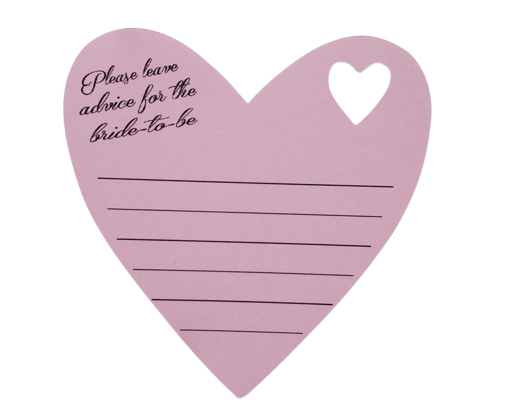 Pink heart bridal shower advice cards