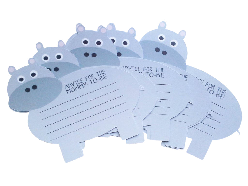 Blue hippo wishes cards baby shower
