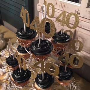 40 birthday gold cupcake toppers
