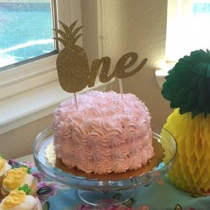 Pineapple theme birthday cake topper