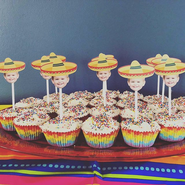 Orange Sombrero Cupcake Toppers with Face