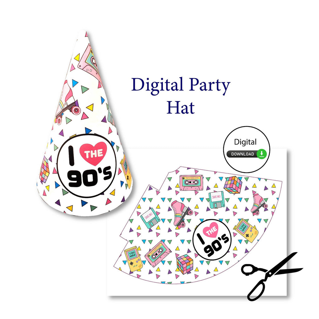 Digital 90s party hat