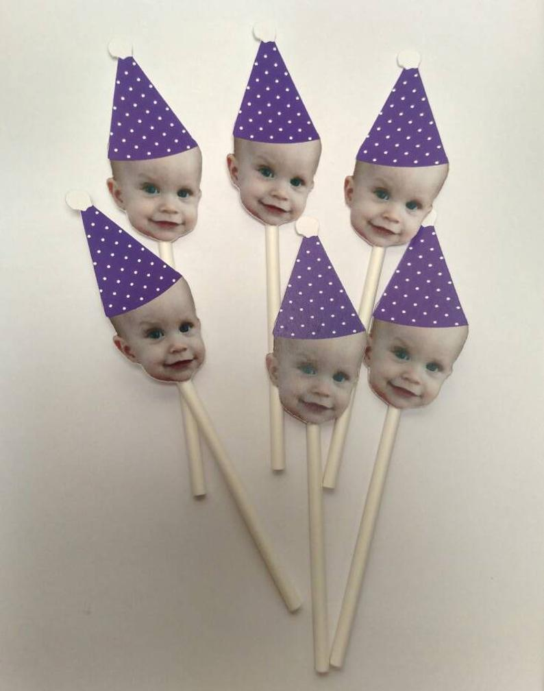 Polka Dot Birthday Hat  Cupcake with Face (12 count)