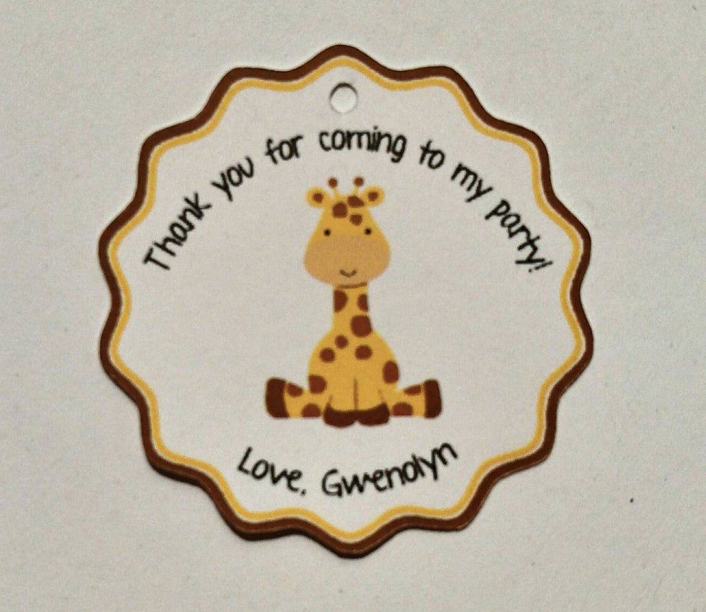 Giraffe Favor Tags for Birthday Party or Baby Shower (set of 24)