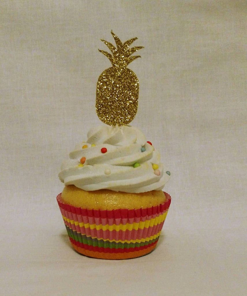 Pineapple Cupcake Toppers in Gold Glitter (12 count)