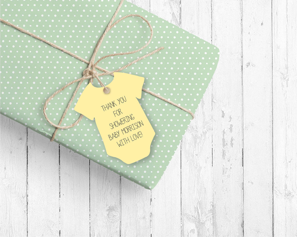 Yellow Bodysuit favor tags (set of 24)