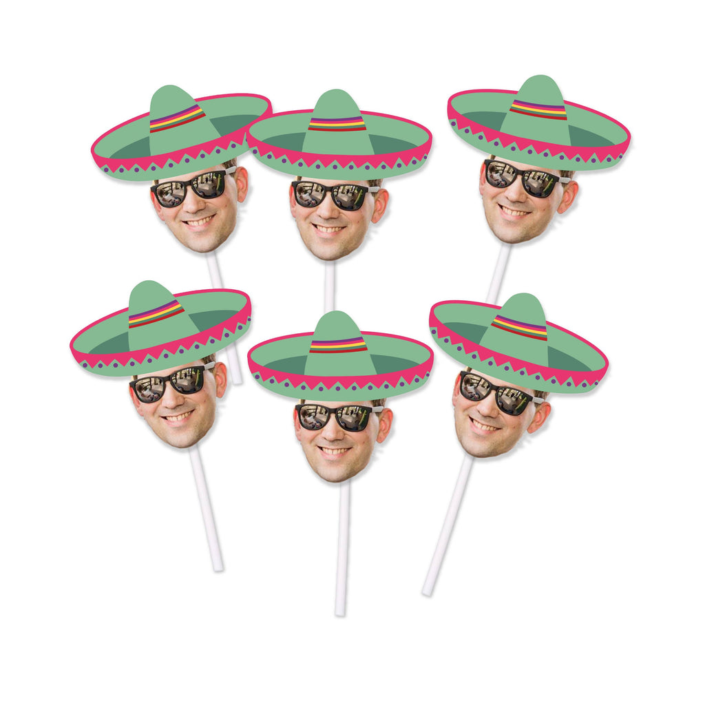 Birthday Face Cupcake Toppers with Sombrero