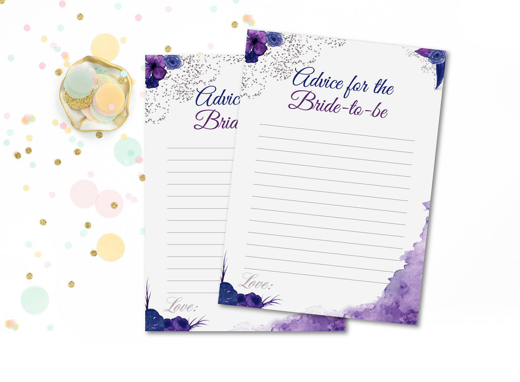 Purple and Navy bride advice cards