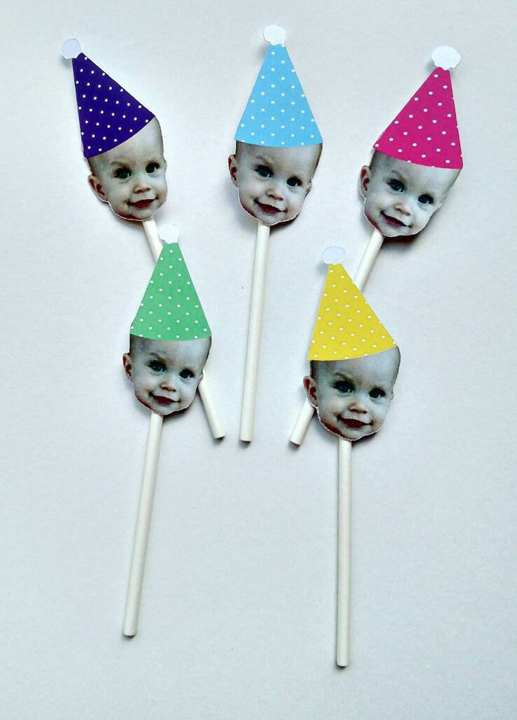 Face Cupcake Toppers with Birthday Hat (12 count - one color for hat)