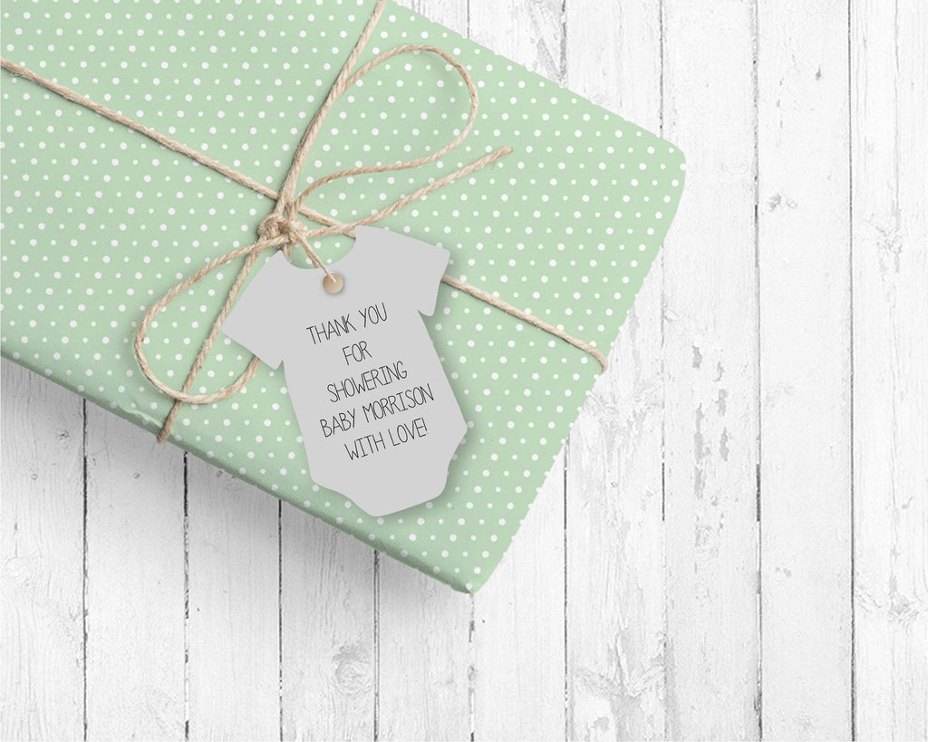 Gray Bodysuit favor tags (set of 24)