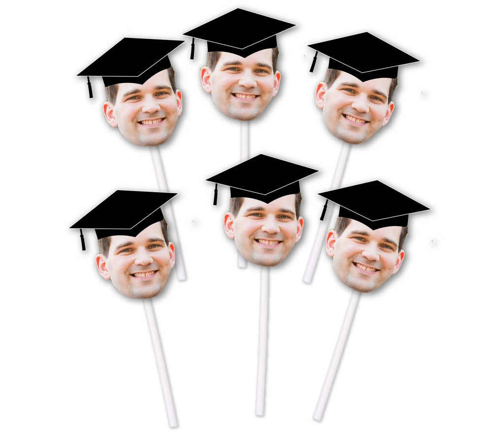 Graduation Cupcake Toppers with Face and Cap