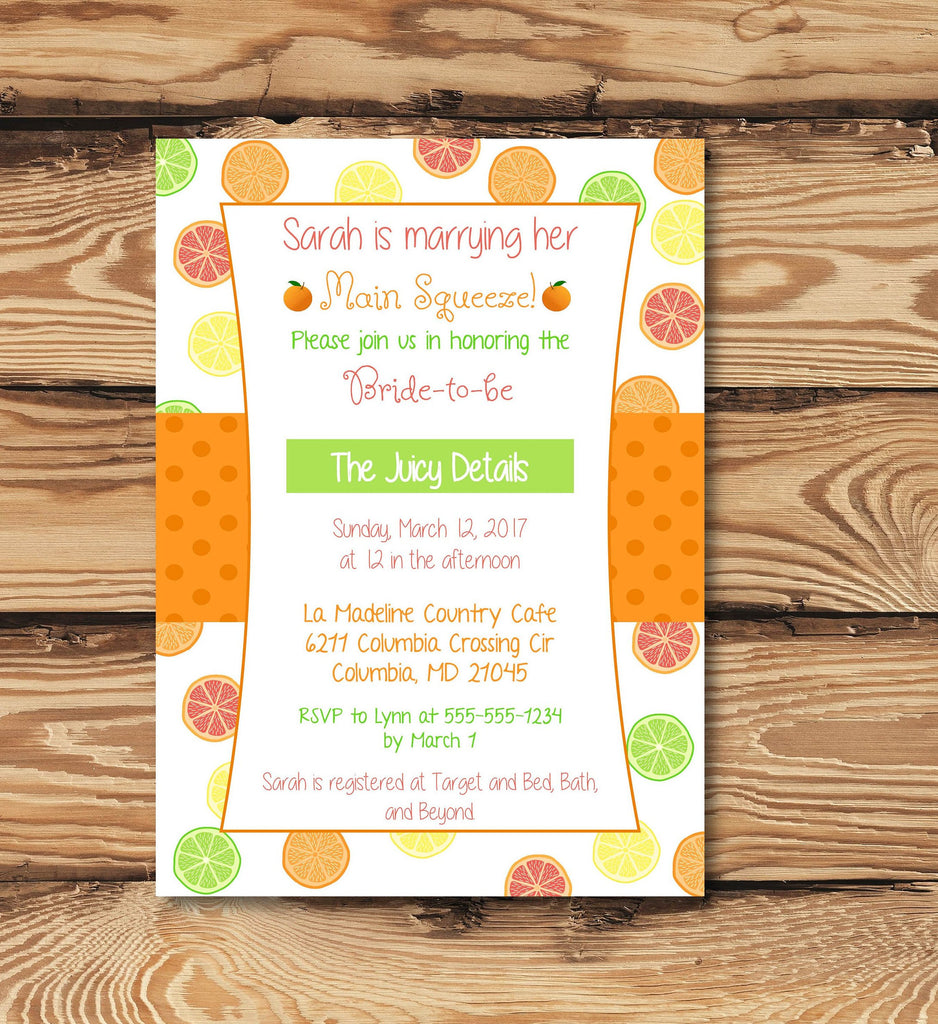 Citrus Fruit Invitation for Bridal Shower (Digital) for Fruit Themed Event, Orange, Lime, Lemon, Spring and Summer
