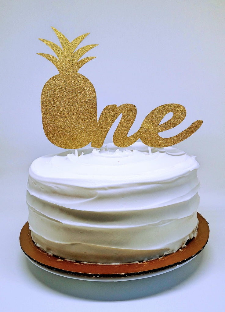 Pineapple First Birthday Glitter Cake Topper