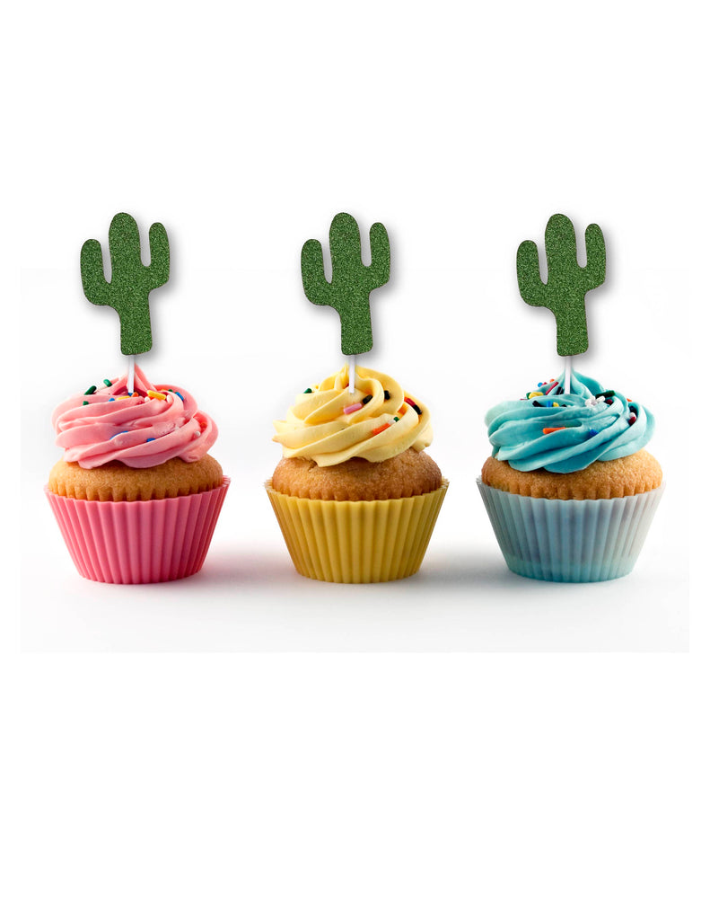 Cactus Cupcake Toppers in Green Glitter
